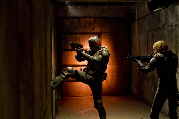 Scene 142 Int. Ma Ma's Base / CCTV Room (Night) ~ Dredd (KARL URBAN) and Anderson (OLIVIA THIRLBY) move through the corridors.